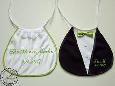 Svadobné podbradníky Sme svoji nové s výšivkou zelené