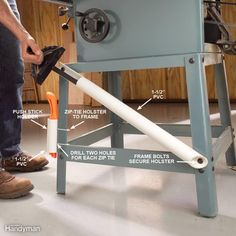 Keep your table saw's miter gauge and push stick within easy reach with a couple of sections of 1-1/2-in. PVC pipe bolted or zip-tied to a convenient spot on the frame under the table. Attach the miter gauge holster using the existing frame bolts, or drill holes in the legs for machine screws. For the push stick holster, we drilled a couple of sets of matching holes about an inch apart on the pipe and tautly zip-tied it to the leg.