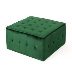 Judson Glam Tufted Velvet Ottoman by Christopher Knight Home (Emerald (Green)) Green Velvet Fabric, Velvet Upholstery Fabric, Green Ottoman, Square Ottoman, Upholstered Storage Bench, Living Room Green, Cocktail Ottoman, Furniture Deals, Shabby Chic Furniture