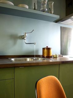 kitchens-blue-green-silver-cabinets-double-sinks-walls : Remodelista