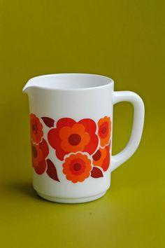 Retro French milk white glass pitcher/jug with door BOULOTDODO, £12.50
