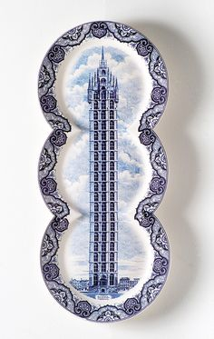 Maxime Ansiau,  porcelain plate shapes stretched to accommodate a skyscraper