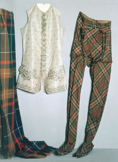 The Prince's clothes. The waistcoat belonged to Prince Charles Edward Stuart and was left at Fassifern House on the march from Glenfinnan in 1745. The tartan trews are believed to have belonged to the Prince but worn as costume. Traditional trews were not trousers, but long hose which were worn high up to the waist.
