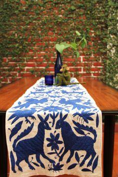 Gorgeous Cobalt Blue Otomi Runner by CasaOtomi on Etsy Mexico, Tenango, mexican wedding, textile, mexican suzani, suzani, embroidery, hand embroidered, otomi, www.casaotomi.com, otomi, table runner, fiber art, mexican, handmade, original, authetic, textile , mexico casa, mexican decor, mexican interior, frida, kahlo, mexican folk, folk art, mexican house, mexican home, puebla collection, las flores, travel tote, boho, tote, handbag, purse, cushion, pillow,