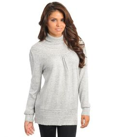 0f8184a23a 2LUV Women s Long Sleeve Turtle Neck Tunic Sweater Grey Turtleneck