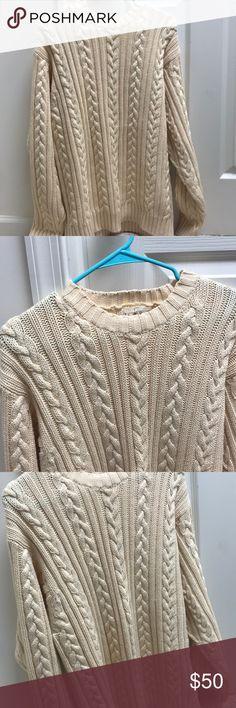 ✨J. Crew Fisherman Cable Crewneck Sweater✨ Cream Crewneck sweater. 100% cotton. J. Crew Sweaters Crewneck