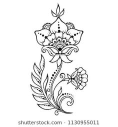 Mehndi flower pattern for Henna drawing and tattoo. Decoration in ethnic oriental, Indian style.: comprar este vector de stock y explorar vectores similares en Adobe Stock Mehndi Tattoo, Henna Tattoo Designs, Mehndi Designs, Henna Tattoos, Mandala Drawing, Mandala Tattoo, Flower Outline, Flower Art, Hena