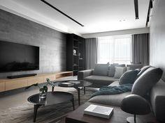 Residence L. on Behance Modern Tv Room, Living Room Modern, My Living Room, Home And Living, Living Room Decor, Home Room Design, House Design, Living Room Tv Unit Designs, Muebles Living