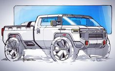 """1,016 Likes, 5 Comments - Designerspen/디자이너 펜 (@designerspen) on Instagram: """"Awesome GMC truck sketch By / @hostepm"""""""