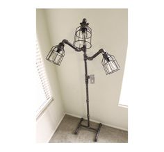 Industrial Floor lamp - Steampunk Black pipe lamp - Free standing lamp, pole…