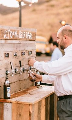 Whether you're planning an outdoor wedding or a backyard BBQ, a stylish drink station will get guests mingling while also doubling as decor.