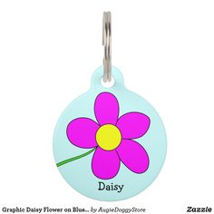 Shop Graphic Daisy Flower on Blue Background Custom Pet Name Tag created by AugieDoggyStore. Pet Name Tags, Dog Tags, Custom Pet Tags, Pet Id, Animal Skulls, Pet Names, Tag Art, Blue Backgrounds, I Love Dogs
