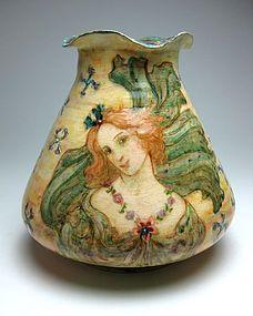 circa 1902 Montigny sur Loing Art Nouveau vase by Numa Gillet
