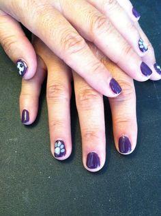 Soccer nails, paw print, maroon nails
