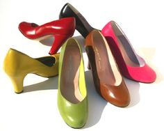 Remix Vintage Shoes, Babydoll Heels in Black, Red, Brown, Dark Brown, Pink, Yellow & Ivory