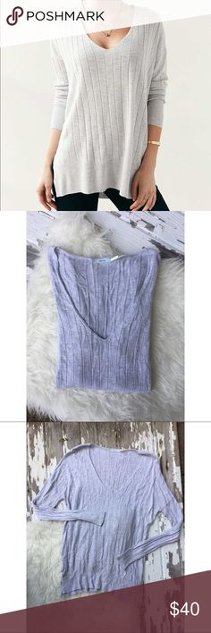 Urban outfitters V-neck sweater Kimchi Blue deep V-neck ribbed tunic sweater in Heather gray. In Excellent condition. Urban Outfitters Sweaters V-Necks