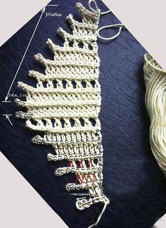 Toca do tricot e crochet: Baktus lindo ! Filet Crochet, Poncho Au Crochet, Crochet Motifs, Crochet Scarves, Crochet Yarn, Crochet Stitches, Crochet Books, Shawl Patterns, Knitting Patterns