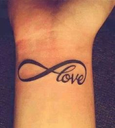 small love infinity tattoo on wrist or place on arm