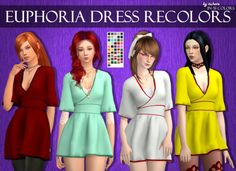 Euphoria Dress Recolors• Custom icon thumbnail  • Standalone  • TOU  • 27 Lisa colors by @simsrocuted  •  24 colors of this palette  • Mesh by @serenity-cc  Mesh is not included! Please download it...