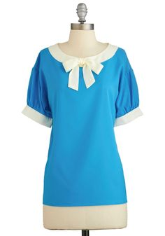 Modern Madeline Top in Aqua. As you skip down the street to the patisserie, your flock of friends fawn over your new top. #blue #modcloth