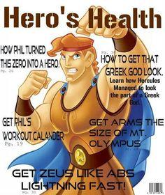 Hercules on the cover of Hero's Health magazine
