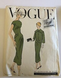 Find many great new & used options and get the best deals for VOGUE COUTURIER RODRIGUES OF SPAIN # 946 VINTAGE '50'S DRESS & JACKET at the best online prices at eBay! Free shipping for many products! Vintage Dresses 50s, 50s Dresses, Dress Sewing Patterns, Vintage Sewing Patterns, Fabric Labels, Miss Dress, Vintage Vogue, Cool Suits, Jacket Dress
