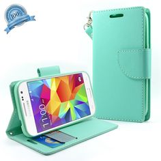 Galaxy Grand Prime Case, NageBee - Design Dual-Use Flip PU Leather Fold Wallet Pouch Case Premium Leather Wallet Flip Case for Samsung Galaxy Grand Prime (G5308 G530) with free Microfiber Cleaning Cloth (Wallet Teal Green)