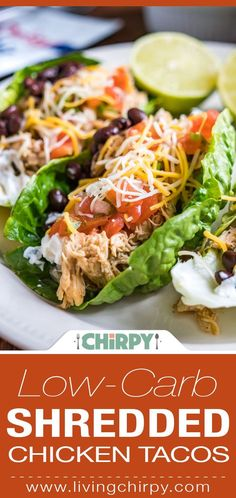 Low-Carb Shredded Chicken Tacos. Gluten Free. Quick and Easy.
