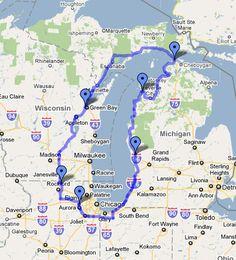 Lake Michigan Circle Tour by Motorcycle Lake Michigan Vacation, Michigan Vacations, Michigan Travel, Lake Michigan Map, Motorcycle Travel, Motorcycle Adventure, Motorcycle Touring, Alpena Michigan, Detroit Michigan