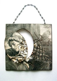 """Katherine Richmond, 'Tears' Brooch and Wall Art in paper, sterling silver, pearls, and steel pins. Brooch is 3.75 x 2.5"""" Wall Art is 5.5 x 5.5"""""""