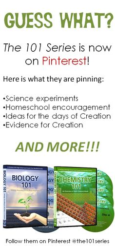 Guess what??? The 101 Series are now on Pinterest! The 101 Series offers pins for: Science experiments, homeschooling, ideas about learning the days of creation, and MORE!!! Follow us today!