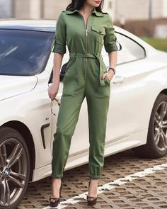 ivrose / Turn-down Collar Zipper Design Cuffed Cargo Jumpsuit Long Jumpsuits, Jumpsuits For Women, Trend Fashion, Fashion Pants, All White Outfit, Online Shopping For Women, Long Sleeve Romper, Womens Fashion Online, Black Jumpsuit