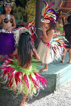 Young dancers preparing to dance, Rarotonga, Cook Islands