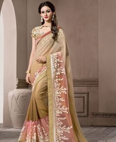 Buy Sublime Light Brown & Pink Casual Saree online at  https://www.a1designerwear.com/sublime-light-brown-pink-casual-sarees  Price: $38.47 USD
