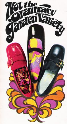 """March 1970. """"We found our new line of spring shoes growing in an enchanted garden on a shoeflower bush."""" #1970s #shoes #fashion"""