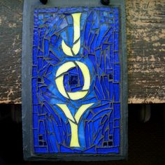 Joy  Mosaic in Cobalt Blue and Creamy Yellow by nutmegdesigns