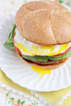 Breakfast burgers! Crunchy bacon mixed right into the patty and topped with a soft egg! Mmmmmm