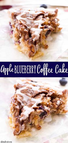 This homemade Apple Blueberry Coffee Cake is love at first bite! It's a light, tender cake filled with sweet apples (that taste like homemade apple pie filling!) and it is topped with a brown sugar crust! Blueberry Crumble, Blueberry Desserts, Blueberry Cake, Blueberry Apple Recipes, Pear Recipes, Gourmet Recipes, Dessert Recipes, Cake Recipes, Pineau Des Charentes