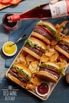 How delicious can fall be? What about plating grilled burgers and crispy chips and pairing 'em with a bottle of Sutter Home Sweet Red. Check out our recipe for homemade Red Wine Ketchup here: