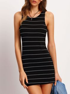 Shop Black Crew Neck Striped Bodycon Dress online. SheIn offers Black Crew Neck Striped Bodycon Dress & more to fit your fashionable needs.