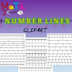 Over 30 high quality number lines including negative numbers, fractions, decimals, blank templates, counting to 100, counting by 2's, counting by 5's, counting by 10's.You may use in any personal or commercial product as long as the image is protected.