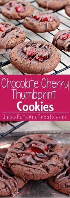 Chocolate Cherry Thumbprint Cookies ~ Soft, Chocolate Cookies filled with Cherry Pie Filling and Drizzled with Chocolate!