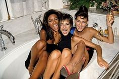 """""""The Trinity"""" formed by supermodels Naomi Campbell, Christy Turlington and Linda Evangelista photographed by Roxanne Lowit in the Linda Evangelista, Christy Turlington, Naomi Campbell, Cindy Crawford, Francis Kurkdjian, Niki Taylor, Original Supermodels, Stephanie Seymour, 90s Models"""