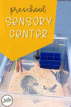 The Sensory Center in a preschool classroom is a place for children to use their sense of touch to explore, as well as learn about capacity and use fine motor muscles. See what is inside my Sensory Center. Preschool Centers, Preschool Classroom, Preschool Activities, Kindergarten, Play Based Learning, Learning Centers, Classroom Organization, Organization Ideas, Sensory Tools