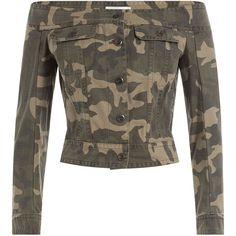 Faith Connexion Cotton Camo Print Sailor Jacket ($420) ❤ liked on Polyvore featuring outerwear, jackets, tops, green, slim fit jacket, field jacket, brown military jacket, camo jacket and cotton military jacket