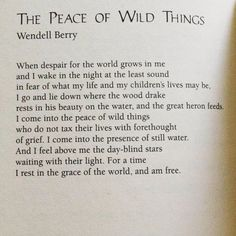 Favorite #poem  The Peace of Wild Things.  Wendell Berry