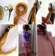 trenza casera para disfraz de rapunzel
