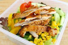 BBQ Chicken Salad with Creamy Avocado Dressing from the Fit Cook (dressing is avocado, greek yogurt & lemon juice)