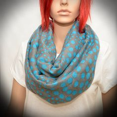 Polka Dot Scarf  Gray Infinity Scarf with Blue by Pixiesdance, $25.00