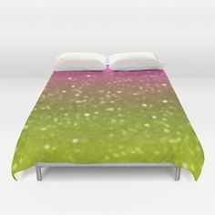 Pink And Yellow Glimmer Duvet Cover by KCavender Designs - $99.00